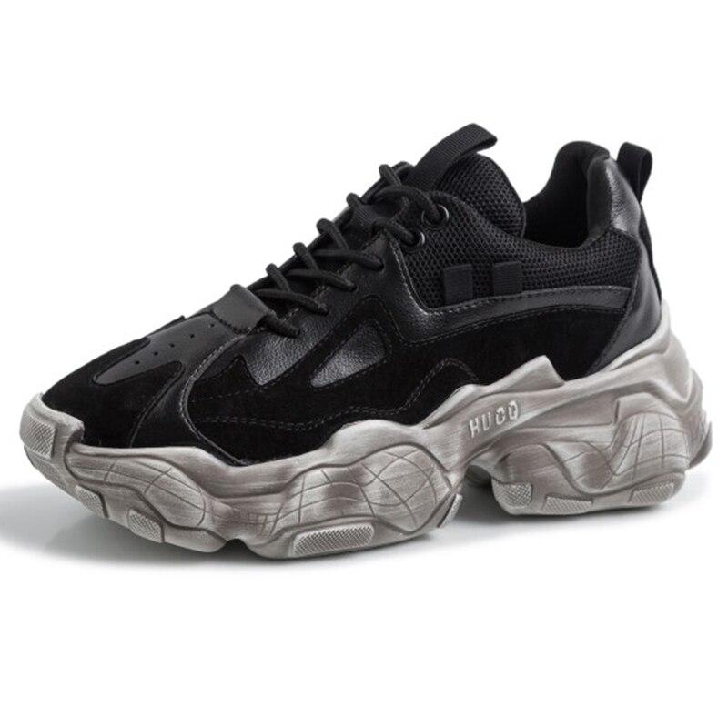 2019 الربيع نمط جولة تو أسود بيج مكتنزة إمرأة منصة أحذية رياضية أبي الأحذية سلة فام النساء أحذية GO2H933-في أحذية مطاطية نسائية من أحذية على  مجموعة 1