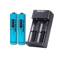 2PCS PKCELL AAA Li-ion Rechargeable Battery ICR 10440 3.7V 350mAh button top And 18650 battery charger for AA AAA batteries