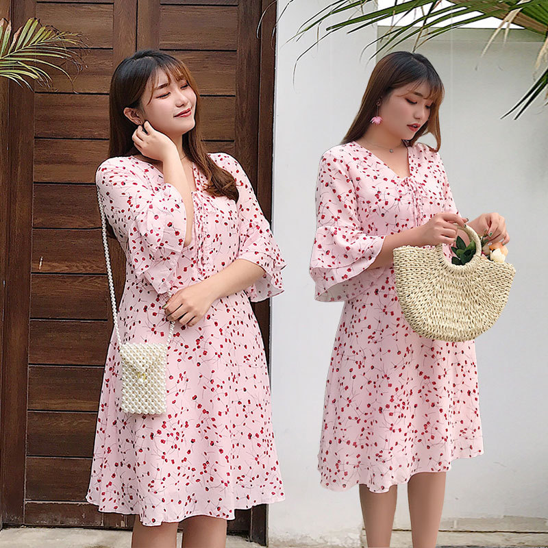 WOMEN'S Dress Korean-style Plus-sized 200 Summer New Products Fat MMV Collar Flounced Sleeves Floral-Print Chiffon Dress 2036