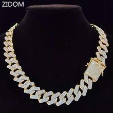 Erkekler Hip Hop zincir kolye 20mm ağır eşkenar dörtgen küba zincirleri buzlu Out Bling kolye moda takı hediye için
