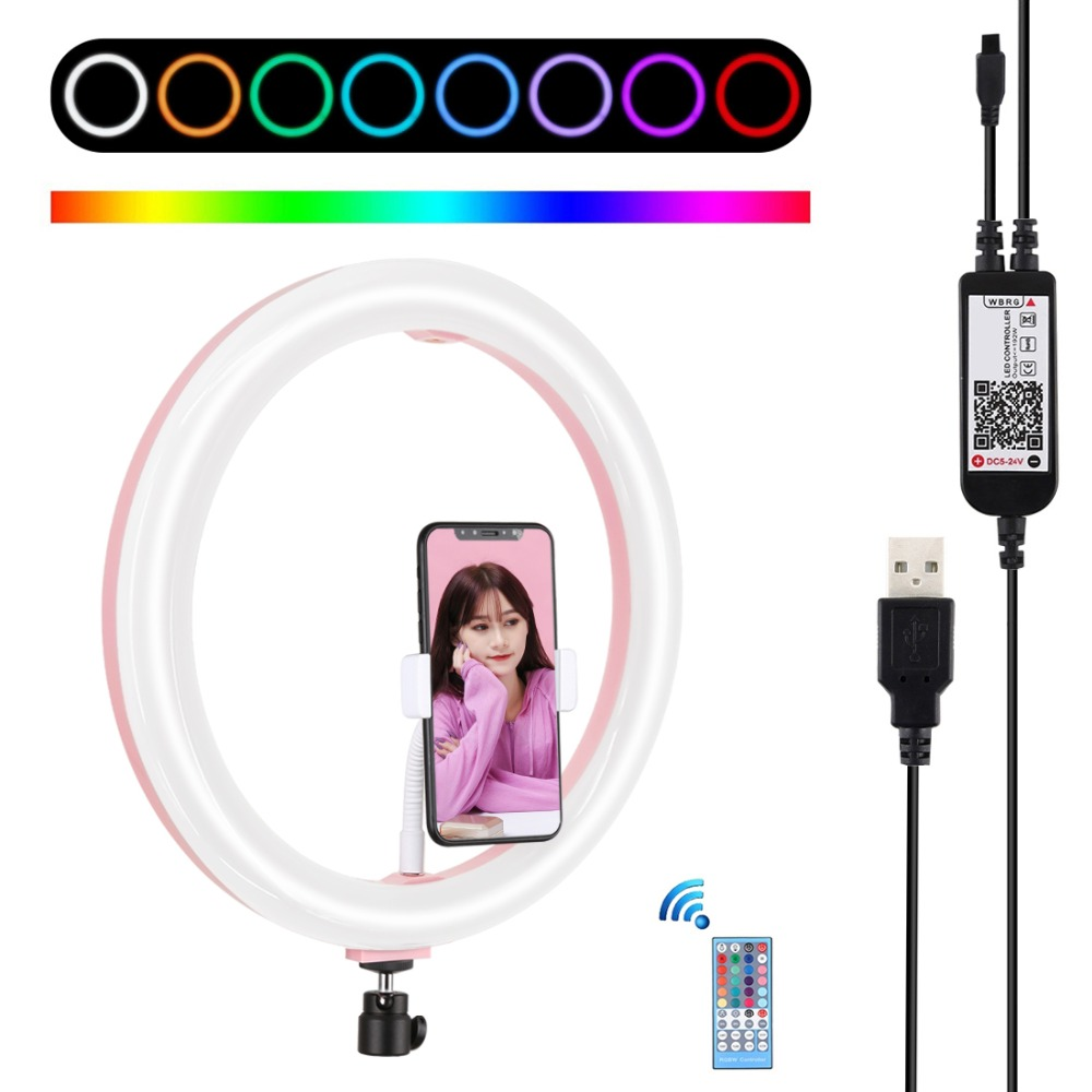LANBEIKA 11 8 inch USB RGBW Dimmable LED Ring Light Vlogging Photography Video Light for YouTube Facebook Live Twitch Beauty Blog
