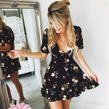 Mini Dress Boho Party Floral Ruffle Black Sexy Women Summer Beach V-Neck Vestidos