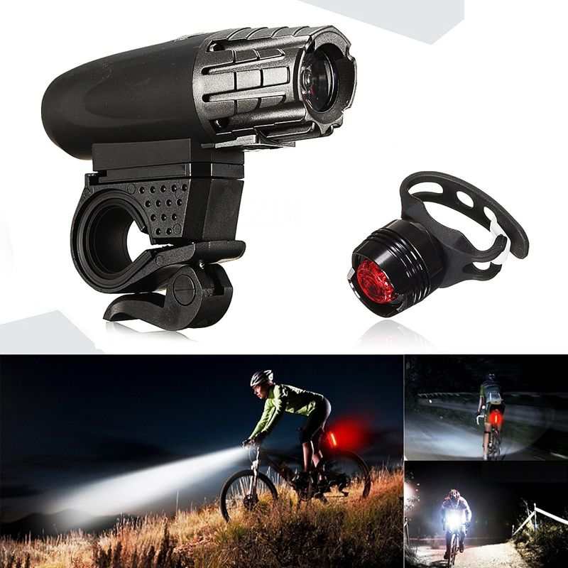 <font><b>USB</b></font> Rechargeable LED Bicycle Bright <font><b>Bike</b></font> Front Headlight + Rear Tail <font><b>Light</b></font> <font><b>Set</b></font> image