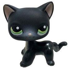 Animais de estimação lps brinquedo permanente anime figura raro cabelo curto gato egípcio cinza azul olhos velho original coleção animais crianças presente brinquedos