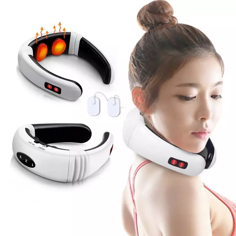 Electric pulse back and neck massager, far infrared heating, pain relief, health care relaxation tool, smart cervical spine mass