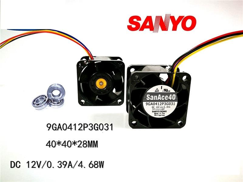 Вентилятор для сервера San Ace 9GA0412P3G031, 40*40*28 мм, чехол для сервера 12 В 0,39a, вентилятор охлаждения ШИМ 28000 об/мин, 40 мм