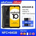 Ulefone Armor 8 прочный мобильный телефон NFC Android 10 Helio P60 4 Гб + 64 Гб 16MP тройной Камера Восьмиядерный 6,1 ''Водонепроницаемый смартфон
