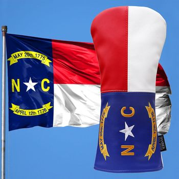 North Carolina Tribute Premium Driver pokrowiec na głowę klubu golfowego-Premium ręcznie robiony skórzany pokrowiec na głowę-w stylu flagi NC tanie i dobre opinie Siranlive CN (pochodzenie) STAINLESS STEEL