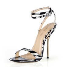 Summer New 11cm High Heeled Sandal Fashion Women Sandals Stiletto Thin heel Ankle Strap Open Toe Sexy Party Dress Lady Shoe 5-i7