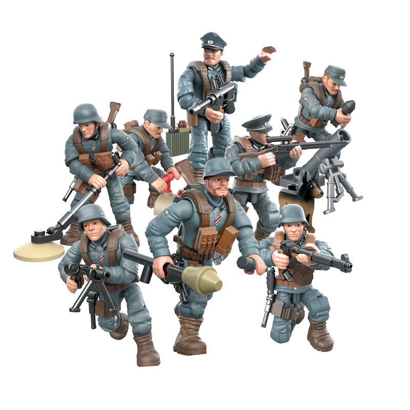 8PCS LEGO Set  Military Swat Soldier Minifigure WW2 Weapson Blocks Model Toys