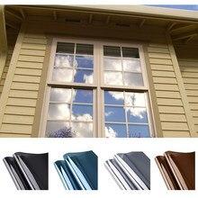 Uma maneira espelho janela filme controle de calor anti uv matiz da janela privacidade filme solar reflexivo auto-adesivo para o sol que bloqueia a prata