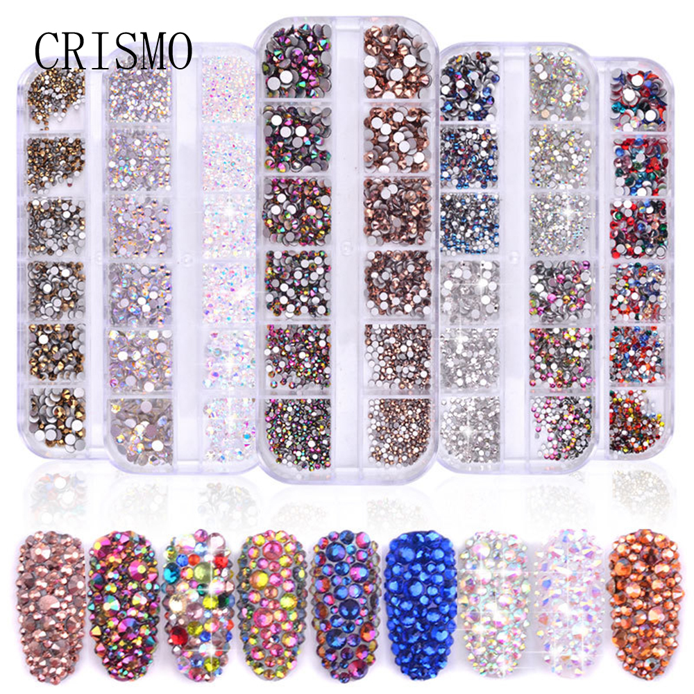 CRISMO Nail Tech Supplies 1 Box Colorful Glass Rhinestones Multi Size 3D Charms DIY Tips 3D Nail Art Decorations