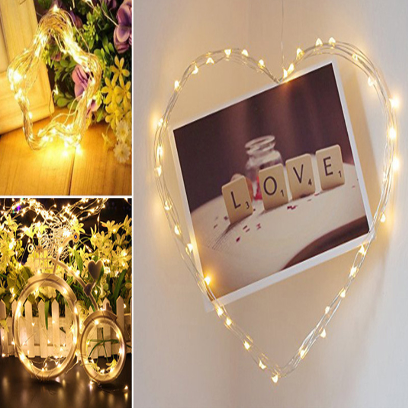 LED String Light Silver Wire Fairy Warm White Garland Home Christmas Wedding Party Decoration Powered By Battery Batter USB 10m