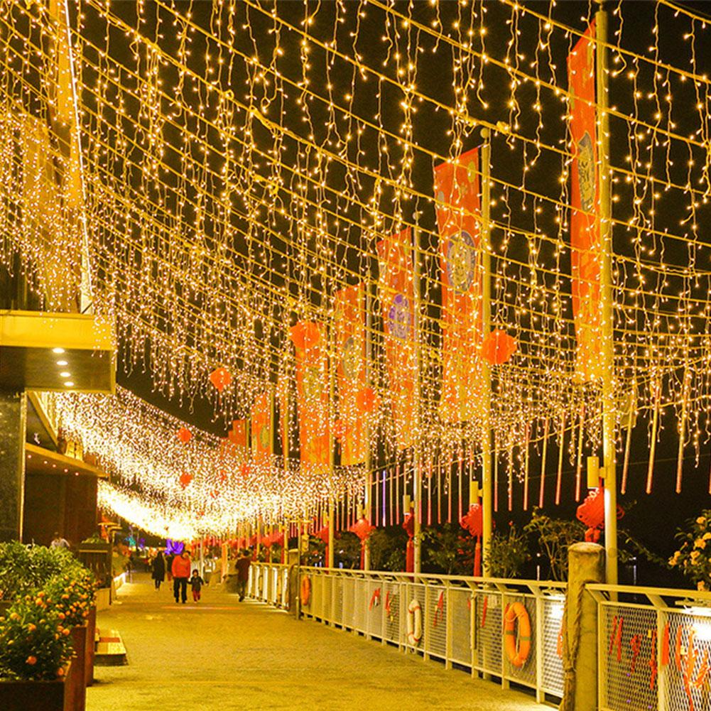 4M Christmas LED Curtain Icicle String Light Waterproof Fairy Light Droop 0.4-0.6m Party Garden Stage Street Mall Outdoor Decor