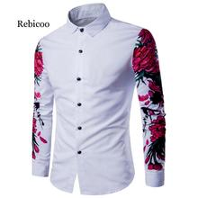 2019 autumn new European and American style large size mens digital printing plum long-sleeved shirt
