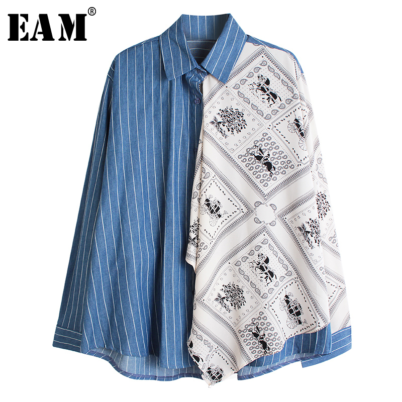 [EAM] Women Pattern Blue Striped Split Big Size Blouse New Lapel Long Sleeve Loose Fit Shirt Fashion Spring Autumn 2020 1R213