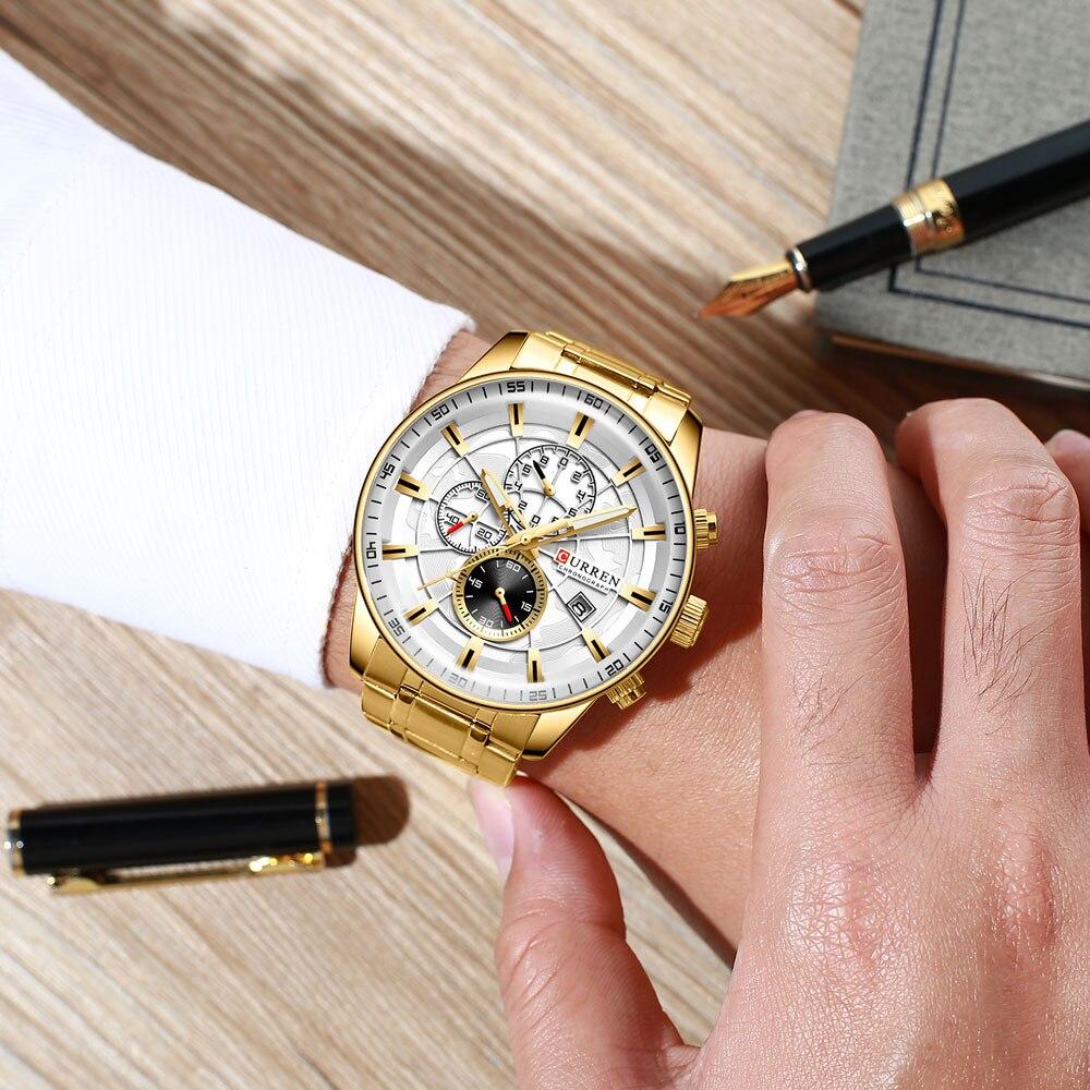 Hae67f30592e04164adad7edf1d26f525O Men's Watches CURREN Top Luxury Brand Fashion Quartz Men Watch Waterproof Chronograph Business Wristwatch Relogio Masculino