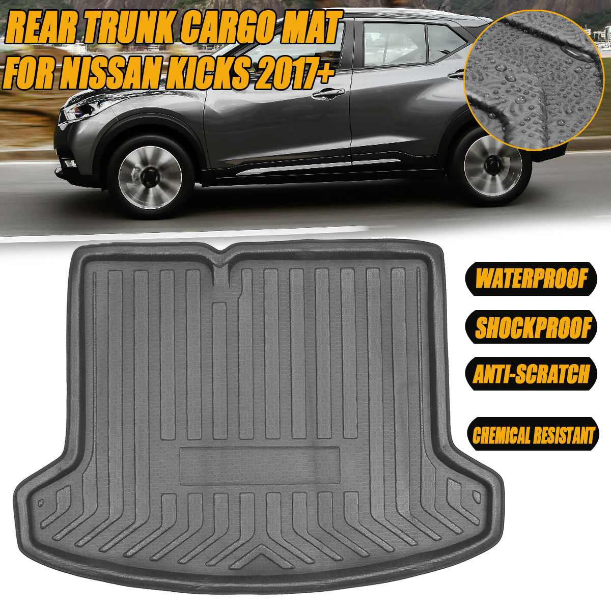 1PC Boot Liner Tray Rear Trunk Cargo Liner Mat For Nissan Kicks 2017 2018 2019 2020+ Floor Sheet Carpet Tray Waterproof Antislip|  - title=