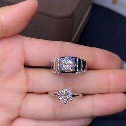 2new exquis étincelant vert moisanite bague pour hommes femmes valentine anneau 925 en argent sterling cadeau brillant mieux que le diamant