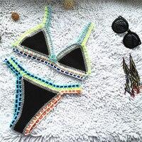 Micro Bikini 2021 Women Handmade Crochet Knit Swimwear Halter Patchwork Bathing Suit Swimsuit Biquini Thong Bikini traje de bano 1
