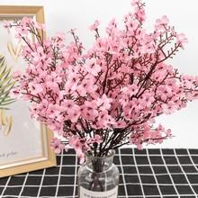 Flores artificiales de yeso de seda para la decoración del hogar de plástico tallo de novia ramo de bodas Mariage flor de cerezo Flor de imitación DIY