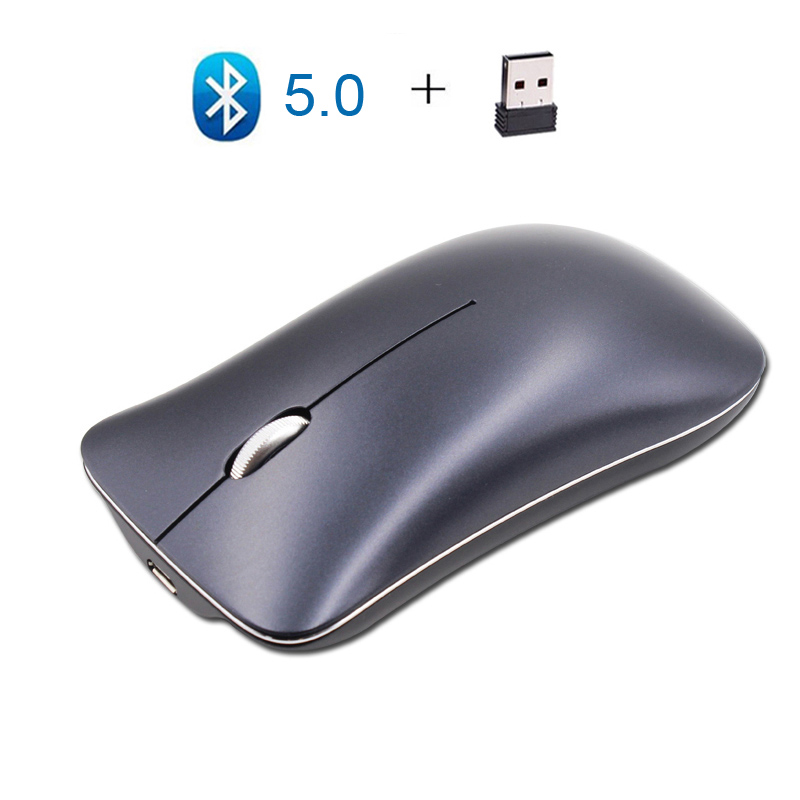 Cliry Wireless 2.4G+Bluetooth 5.0 Dual Three Mode Mouse Aluminum Alloy 1600 DPI Ultra-thin Recharge Portable Best Optical Mice