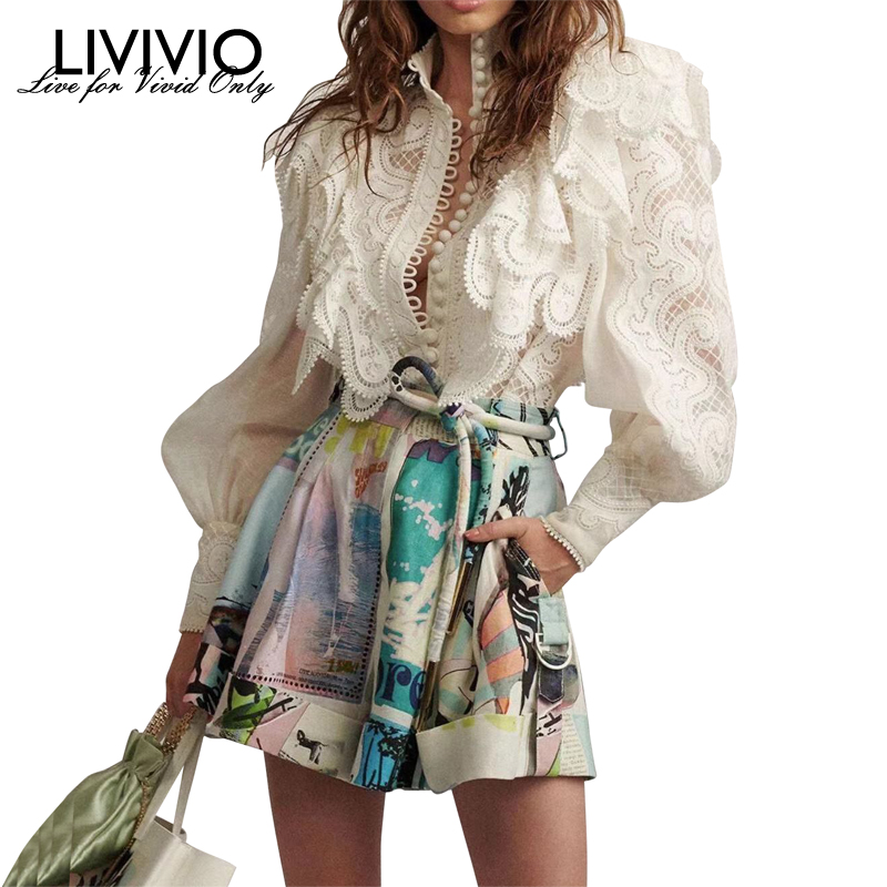 [LIVIVIO] Lace Ruffled Stand Neck Lantern Long Sleeve Sheer Blouse + Print Shorts With Belt Women Two Piece Matching Sets New
