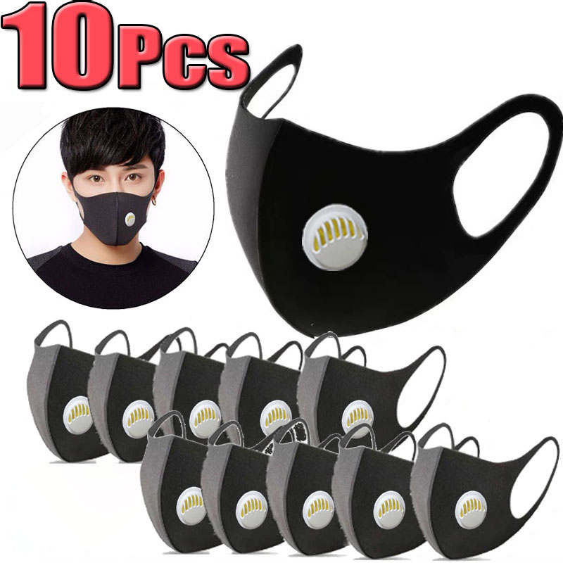 10Pcs Black Face Mouth Mask Anti-Infection Activated Carbon Filter Mouthmask Unisex Anti-dust Mouth Facemask Washable Reusable