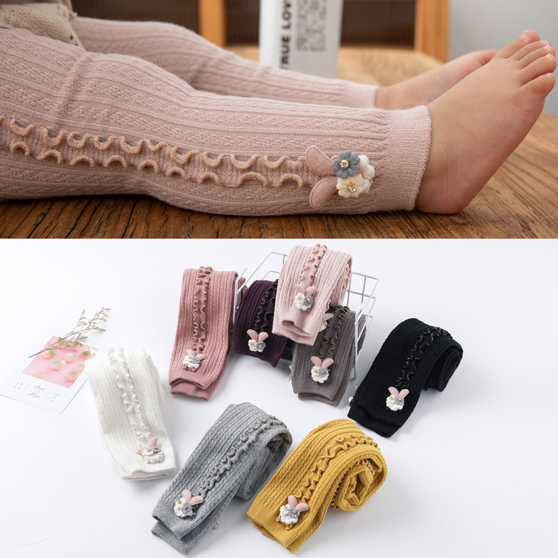 Spring Autumn Warm Candy Colors Cute Rabbit Colorful Skinny Trouser Baby Girls Comfortable Knitting Leggings Pants For Kids