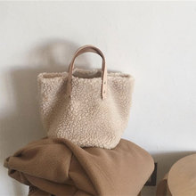 Casual Solid Color Wool Women Hand Bags Fashion Crossbody For Ladies Clutch Shoulder Lamb Hair Chain Bag
