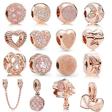 925 Sterling Silver Rose Gold Charms Open Heart Sparkling Polish Charm Pendant Clip Stopper Charms Fit Original Pandora Bracelet(China)