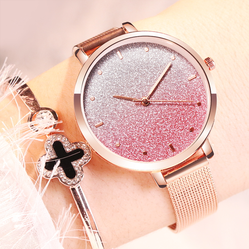 Luxury Women Watches Fashion Mesh Band Starry Sky Rose Gold Womens Reloj Mujer Relogio Feminino