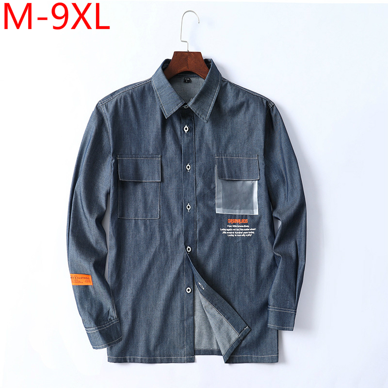 Plus Size 7xl 8xl 9xl Men Shirt Long Sleeve Dress Shirt Oversize Men Denim Shirt Formal Large Size Big Leisure Navy Blue Blouse