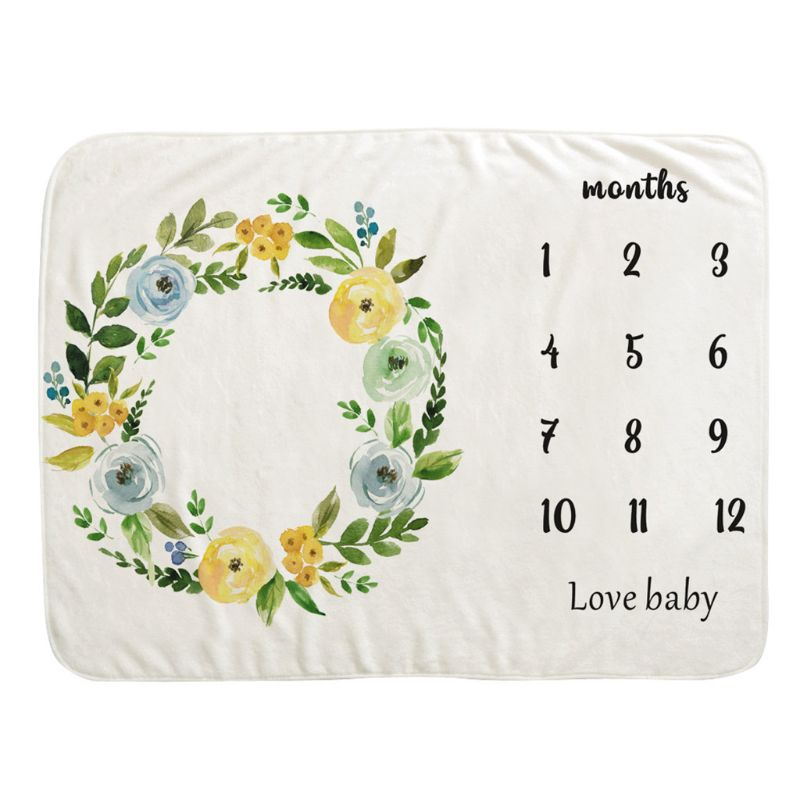 Baby Monthly Record Growth Milestone Blanket Newborn Wreath Photography Props M76C