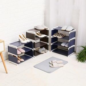 Image 2 - Cremalheiras de sapato dobrável armários de sapato economizar espaço várias camadas sapatos prateleira titular suporte dustproof organizador casa sala estar