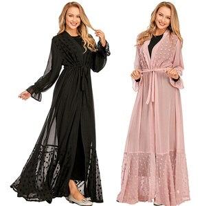 Open Abaya Dubai Kaftan Women Kimono Party Dress Long Sleeeve Cardigan Islamic Jilbab Muslim Cocktail Robe Ramadan Clothing Gown
