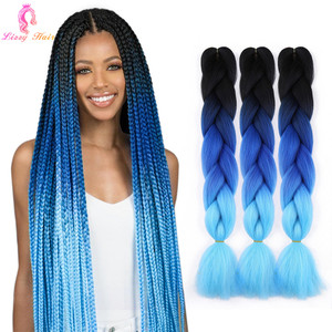 Long 24''Jumbo Braids Synthetic Hair Crochet Braiding Hair Extensions Ombre Crochet Braid Hair Pink Blue Color For Black Women