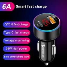 Pd usb carregador de carro usb display lcd mini carga rápida 3.0 6a 36w qc3.0 carregador rápido para iphone 12 huawei xiaomi tipo c telefone