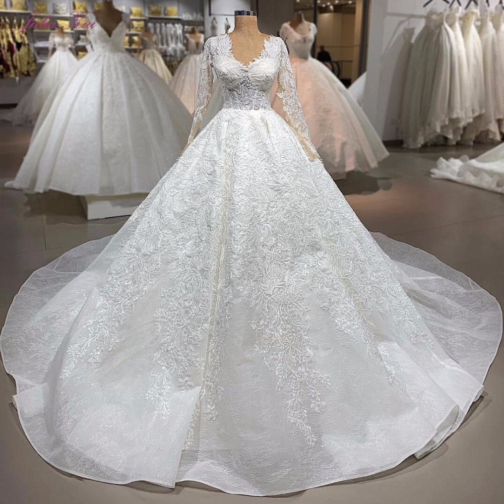 Julia Kui Luxury V-Neckline Of Ball Gown Wedding Dress With Elegant Appliques Of Lace Up Closure Wedding Gown