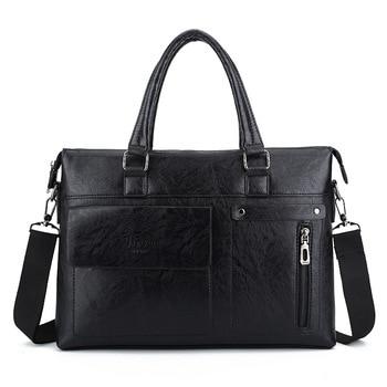 Men Briefcase Leather Shoulder Bag