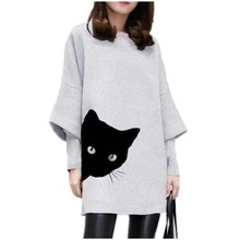 Women O-neck Cat Print winter dress Patchwork Loose plus