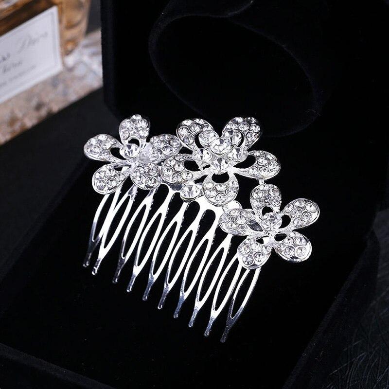 Bridal Wedding Hair Comb Tiara Silver Plated Crystal Rhinestone Bride Flower Tiara for Women