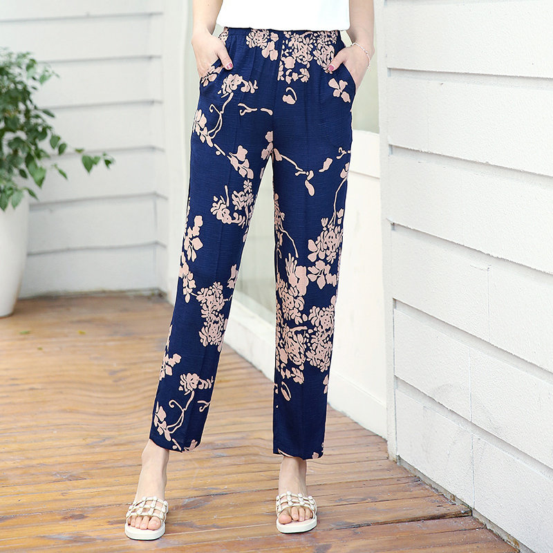 XL-5XL Plus Size Casual Middle-aged Women Trousers 2019 Summer Ankle-Length Harem Pants Fashion Striped Print High Waist Pants 2