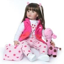 60cm Silicone Dolls NPK Reborn Soft Body Baby Girl Doll Vinyl Newborn Dolls Brinquedos Bebe Reborn planted long hair