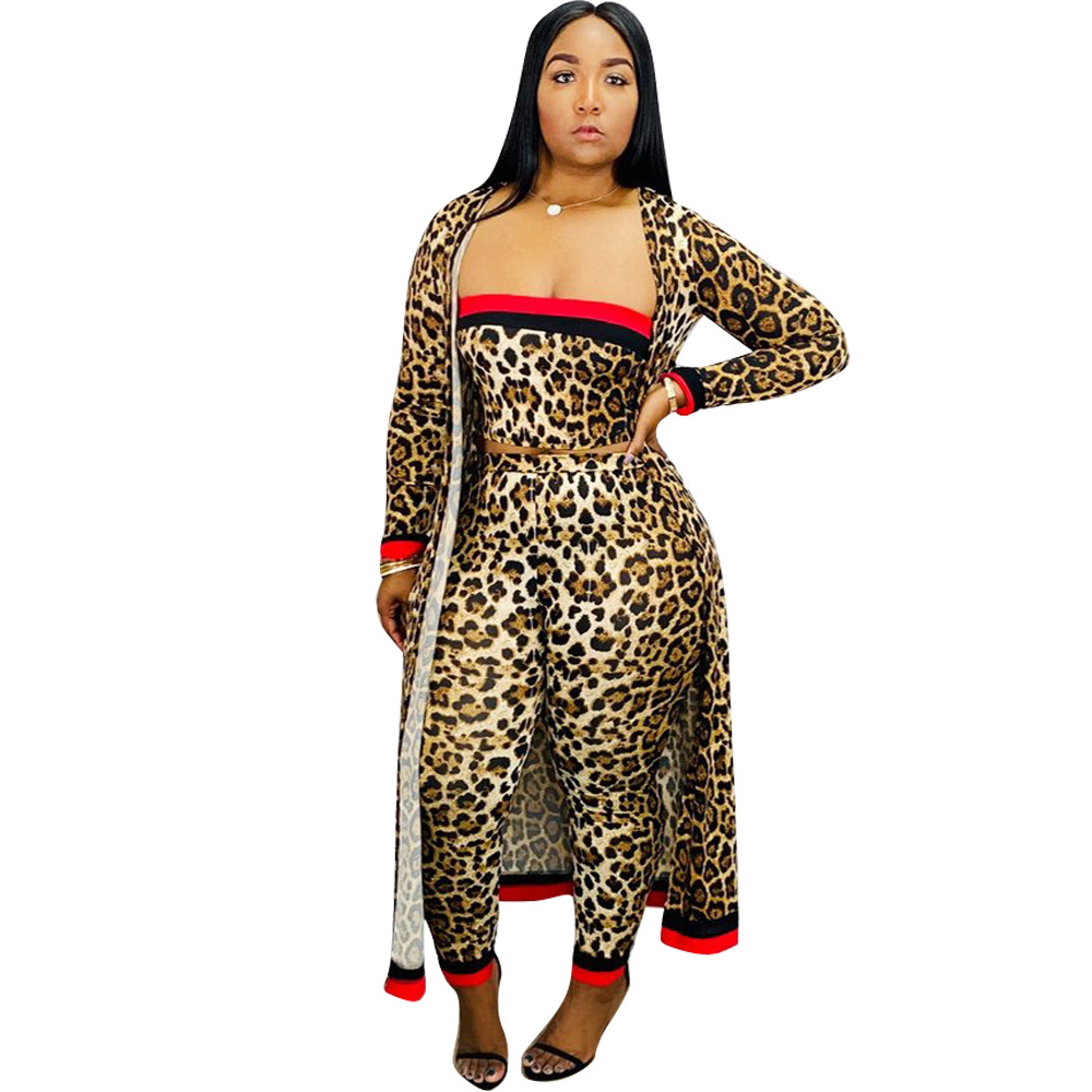 Spring 2019 New African Fashion Hot Sale In Europe And The Stitching Wrapped Chest Tight Stripe Sexy Three-piece Set