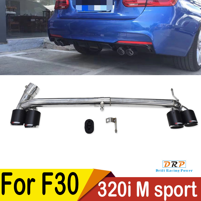 Four out  carbon fiber Modified Car Rear Exhaust Pipe Muffler tip fit BMW F30 F35 3 Series 320i 318i  in 2013 2016 M sport|muffler muffler|muffler bmw|mufflers for cars - title=