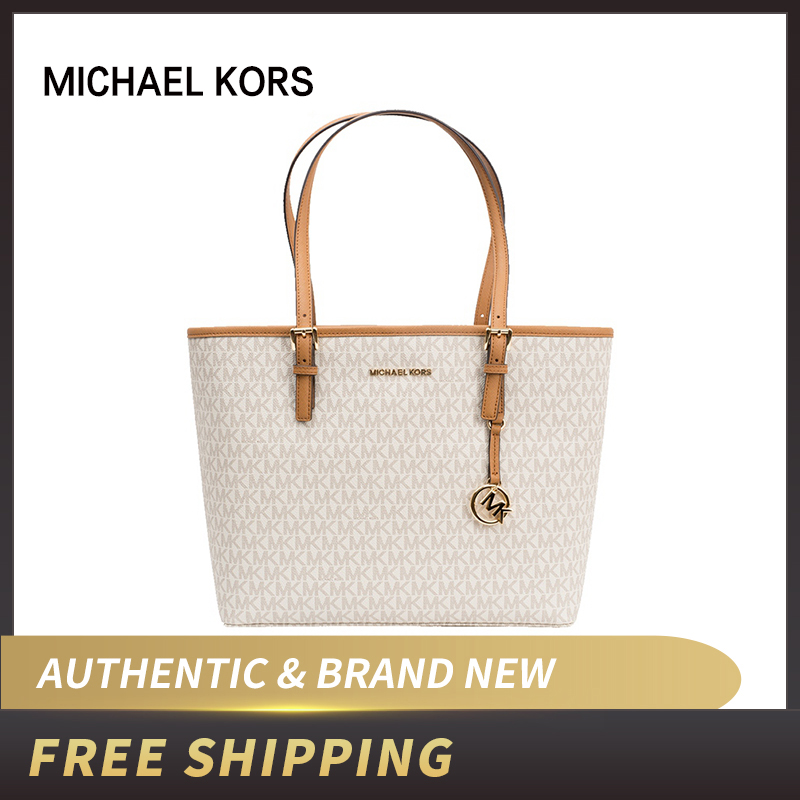 Authentic Original & Brand New MICHAEL KORS MK LOGO PVC JET SET TRAVEL MEDIUM CARRYALL TOTE BAG Women Bag 35S9GTVT0B/35T9GTVT0L