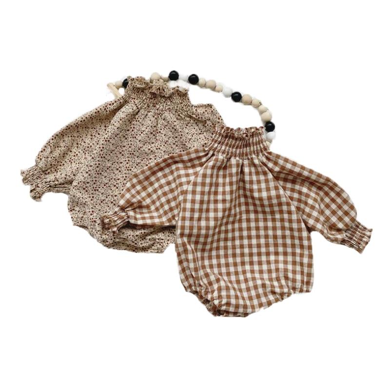 Herbst Floral Body Neugeborenen Baby Mädchen Langarm Overall Baumwolle Infant Mädchen Plaid Body Kinder Kleidung