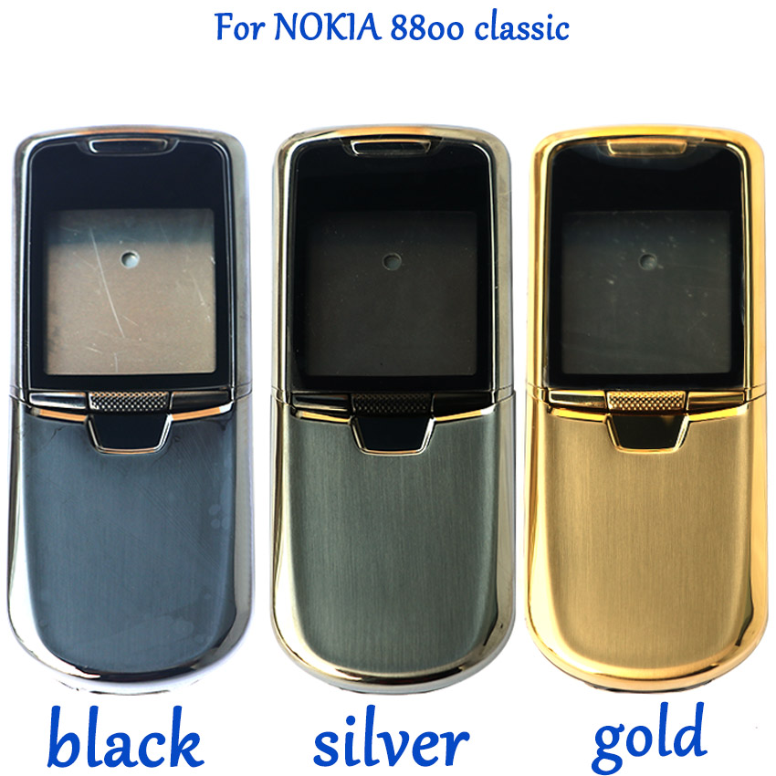 For Nokia 8800C 8800 Classic Battery Back Cover Battery Door Rear Cover Metal Full Housing Case With English / Russia Keypad