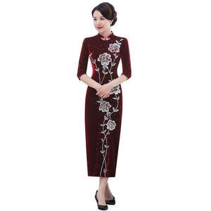 Image 5 - 2019 מיהרו Quinceanera 2020 סתיו חדש פרל נייל זהב קטיפה Cheongsam שמלת להראות אמא חתונה אמא בחוק באיכות נשים